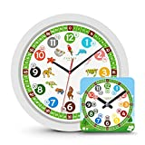 Cander Berlin MNU 1330 Kinderwanduhr (Ø) 30,5 cm Kinder Wanduhr mit lautlosem Uhrenwerk und farbenfrohen Tieren - Ablesen der Uhrzeit Lernen