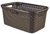 CURVER Style Wäschekorb 45L Wäschebox, Plastik, Dunkelbraun, 59.2 x 38 x 27 cm