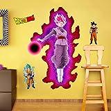 StickersZ Dragon Ball Wandtattoo Wandtattoo Super Saiyan Goku Vinyl Wandtattoo Dragon Ball Z, DBZ Anime Wandkunst, Aufkleber für Kinderzimmer Dekoration-90 * 60CM-A_80*120CM
