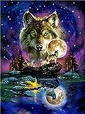 Malen nach Zahlen Kit für Kinder Erwachsene Anfänger 16x20 Zoll - Tiere Wolf Mond, Zeichnen mit Pinsel Weihnachtsdekor Dekorationen Geschenke (Without Frame)