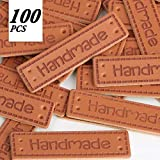 VINFUTUR 100pcs PU Handmade Labels Leder Etiketten Tags Handmade Kleideretiketten DIY Näharbeit Deko Kleidungszubehör