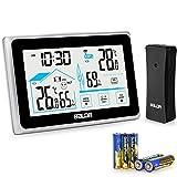 BACKTURE Wetterstation Funk Digitale mit Außensensor und 5 AAA Batterie Thermometer Hygrometer Multifunktionale Funkwetterstation für Innen und Außen Monitor Temperatur/Feuchtigkeit/Uhrzeitanzeige