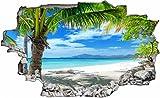 DesFoli Strand Beach Palmen 3D Look Wandtattoo 70 x 115 cm Wanddurchbruch Wandbild Sticker Aufkleber C316