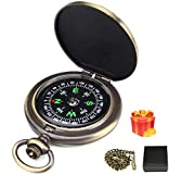 Charminer Kompass Outdoor,Premium Portable Messingkompass Klassischer Sprungdeckel Wasserdichter Marschkompass Taschenuhr Flip-Open Navigation Tools mit Leuchtziffern für Camping W
