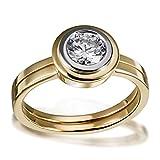 Goldmaid Damen-Ring Solitär Verlobung Weißgoldzarge 585 Gelbgold 1 Brillant P1/ H 1,00 ct. Inkl. externer Expertise So R6556GGP