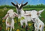 NUWCECK Lacknummer-Kits Ziegenbock Mutterschaf DIY Ölgemälde Zeichnung Leinwand mit Pinsel Dekorationen Geschenke