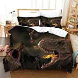 YUEWEIWEI Jurassic Duvet Cover, 3D-Druckdinosaurier-Weltbettwäsche 200x200, (1 Quiltcover + 2 Kissenbezüge) Steppdecke für Teenagerjungen (Size : 220x240cm)