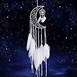 Dremisland Weiß Traumfänger Handgemachte Mond Design mit Federn Dreamcatcher Wandbehang Home Decoration Ornament Festival Craft Geschenk (Weiß Traumfänger)