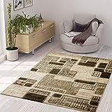 VIMODA Designer Teppich Kariert Retro Muster Meliert in Braun Hellbraun Beige, Maße:80 x 150 cm
