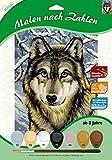 MAMMUT 105067 - Malen nach Zahlen Tiermotiv, Wolf, Komplettset mit bedruckter Malvorlage im A4 Format, 7 Acrylfarben und Pinsel, Malset für Kinder ab 8 Jahre