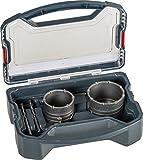 kwb Power-Box Bohrkronen-Set mit Durchmesser-Größe 68 mm und 82 mm – hartmetall-bestückt, schlagfest, inkl. – 2x Zentrierbohrer, SDS Plus u. Sechskant-S