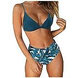 Hawaii Leopard /Einfarbig Drucken Bikini Set Damen Hohe Taille Bustier Bikinioberteil Streifen Bademode Zweiteiliger Badeanzug Strapsen Tiefer V Ausschnitt Schwimmanzug Viele Arten Muster Swimsuit