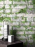 NEWROOM Steintapete Tapete Grau Mauer Stein Modern Vliestapete Grün Vlies moderne Design 3D Optik Steintapete Ziegelstein Backstein Mauerwerk Klinker Loft inkl. Tapezier Ratgeber