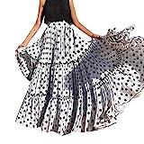 Iunser Damen Wellenpunkt Printed Sommer Casual Kleider Kurzarm Swing Dress Sommerkleid für Damen Damen Summer Beach Holiday Mode Sommer Strand (Weiß,XL)