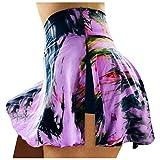 Damen Tennis Rock Leggings mit Taschen,Blickdicht Lange Sporthose Fashion Yogahose Sexy Extra-elastische Sportbekleidung Stretch Kleidung Bodysuit für Sport,Laufen,Yoga, Fitness Hose Skorts