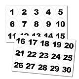 Zahlenaufkleber rund, Nr. 1-30, 25mm, schwarz/weiß
