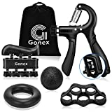 Gonex Handtrainer Fingertrainer Set mit Zählfunktion, 5-60kg Verstellbarer Unterarmtrainer, Hand Trainingsgerät, Fingerhantel, Trainingsring, Griffball für Fitness Krafttraining Therapie