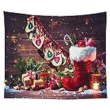 KHKJ Weihnachtsbaum drucken Wandteppich Wandbehang Hintergrund Stoff Dekor rot Weihnachtsmann Wandteppich Home Room Wanddekoration A14 150x130