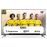 CHiQ U58H7A Smart TV 147 cm (58 Zoll Fernseher) Android 9.0, Smart TV,LED TV, UHD, WiFi, Bluetooth, Google Assistant, Netflix, Prime Video, HDMI, USB