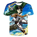 Attack Riesen T-Shirt Cartoon T-Shirt LäSsig T-Shirt Farbdruck Crew Hals Geschnitten FüR Den TäGlichen Gebrauch (140)
