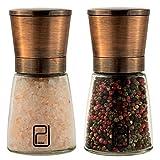 Premium Salz- und Pfeffermühle-Set - Beste kupferfarbige Edelstahl-Mühle, Handliche Magnetdeckel, Glatte Keramik-Gewürzmühle mit einfach verstellbarem Mahlgrad, Salz- und Pfefferstreuer oben