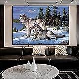 XIANGPEIFBH Leinwand Malerei Wolf Poster Schnee Landschaft Bilder Wandkunst für Wohnzimmer Moderne Dekoration Landschaft Tier 60x80cm Innenrahmen