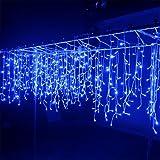 Wandskllss Outdoor Led Lichterketten Warme Farbe Lichter Vorhang Lichterkette Garten Lichterkette Lichterkette HochzeitsdekorationBlau4x0,6m90 Lampen