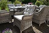 bomey Rattan-Sessel Set mit Polstern I Gartenmöbel Set Como 8-Teilig I Acht Gartensessel Grau + Polster Beige I Lounge Sessel für Garten + Terrasse + Wintergarten