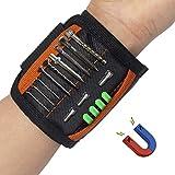 Magnetisches Armband, Werkzeug-Armband, verstellbarer Handgelenk-Werkzeughalter, Armband-Werkzeug mit 15 starken Magneten und 2 Taschen, Geschenke für Vater/Vater/Weihnachten (schwarz und orange)