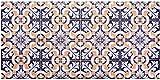 Baroni Teppichläufer aus Vinyl für Küche, Dekoration Schweine, Blau und Gelb, 120 x 60 cm, aus rutschfestem PVC, für Innen- und Außenbereich
