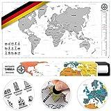 #benehacks Weltkarte Zum Rubbeln in Deutsch - Rubbelweltkarte - Landkarte Zum Freirubbeln (Poster Silber/Weiß 84 x 44 cm, inkl. Geschenk-Verpackung)