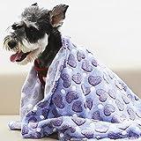 Patas Lague Hundedecke, Haustier-Welpen-Decke, superweich, niedlicher Druck, Flanell-Decke, Überwurf für Hund und Katze, maschinenwaschbar (violettes Herz, 1 Packung mit 127 x 152 cm)