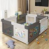 Laufgitter Laufstall Baby,Aktivitätszentrum für Kinder im Innen- und Außenbereich mit Rutschfester Basis, Stabiler Schutzgitter für Kindern(Size:150x180x68cm)(Bälle nicht enthalten)