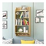zxb-shop Bücher-Regal 3-Tier Moderne Wandmontierte Holz Bücherregal Floating Wall Regale für Anzeige, Bücher, Aufbewahrung & Dekor Boden-to-Decke Bücherregal (Color : Natural, Size : 4-Tier)