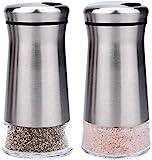 bonris Salz- und Pfefferstreuer-Set aus Edelstahl mit Glasboden, Salz- und Pfefferstreuer mit einstellbaren Löchern