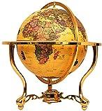 ZHIXIN Retro-Vintage-Weltkugel, interaktive Bildungskugeln für Kinder, Erwachsene, Heimbüro-Dekoration, Desktop-Globus, Ornamente mit Metallsockel