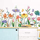 WandSticker4U®- XL Wandtattoo BLÜTENVIELFALT bunt I Wandbilder: 111x48 cm I Wandsticker Kinder Blumen Schmetterlinge Pflanze Aufkleber I Wand Deko für Kinderzimmer Schlafzimmer Küche Bad F