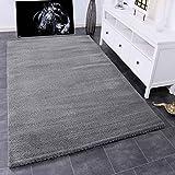 VIMODA Teppich Wohnzimmer in Grau Flauschig Microfaser Dicht gewebt-Weich, Ma�e:80x150
