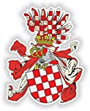 1 x Vinyl-Aufkleber mit Wappen von Kroatien, Krone, Landflagge, wasserdicht, 5