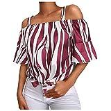 AFFGEQA Bluse Damen EIN Wort Kragen Tunika Schlinge Gestreift Oberteile Damen Shirt Lässige Hemd Vintage T-Shirt Tops Elegant Blusentop Weste Top