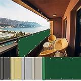 AEREY Balkonabdeckung 100x650cm, Terrassen Sichtschutz, wasserdicht Blickdicht Zaunblende für Balkon und Terrasse für Garten Swimming Pool - Dunkelgrün