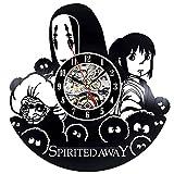 RUIMA Kreative Wanduhr Vinyl Stille Quarz Home Kunst Dekorative Schallplatten Chihiros Anime Film 30x30 cm Schw
