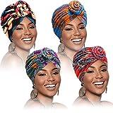 SATINIOR 4 Stück Afrikanische Muster Kopfbedeckung Pre-Gebunden Motorhaube Turban Knoten Mütze Deckel H