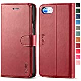 TUCCH iPhone SE 2020 Hülle, iPhone 8 Case, Stoßfeste Handyhülle, [Verdicktes TPU] [Kartenfach] [Standfunktion] [Premium Leder], Schutzhülle für iPhone SE2/8/7 (4,7 Zoll) Rot, Tu177