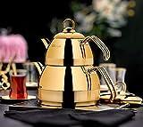 Edelstahl-Teekannen-Set, türkische Doppelteekanne, Wasserkocher, Herd, Teekocher, Wasserbereiter, Titanbeschichtung, Edelstahl, spülmaschinenfest, goldfarben, 4 Stück
