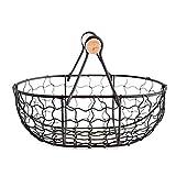 Tuker ] Metallkorb im Retro-Stil, tragbar, multifunktional, für Gemüse, Obst, Ei, Lebensmittel, praktischer Aufbewahrungskorb, Organizer, schwarz