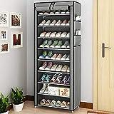 BALLSHOP 10 Ebenen Schuhregal Schuhschrank Schuhaufbewahrung Schuhständer Shoes Rack 58 x 28 x 160 cm für ca. 27 Paar Schuhe DIY Schmal aus Vliesstoffe Selbst B