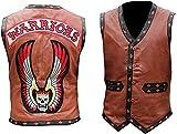 Herren Lederweste im Biker-Stil, Weiß Gr. XXXX-Large, Maroon – Warriors Weste Jacke