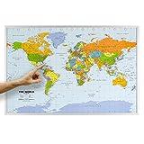 ORBIT GLOBES & MAPS Weltkarte - Kork Weltkarte auf Pinnwand mit Holzrahmen (silber) 90 x 60 cm, englisch mit Fähnchen und Pins sowie Befestigungsmaterial