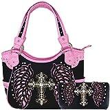 Western-Handtaschen-Set mit Kreuzschlitz-Flügeln, verdeckte Tragetaschen, für Damen, (Black/Pink Set), Large